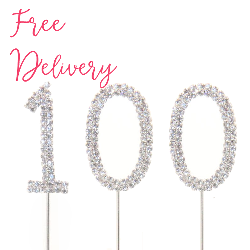 100 Birthday Diamante Cake Topper Decoration Pick