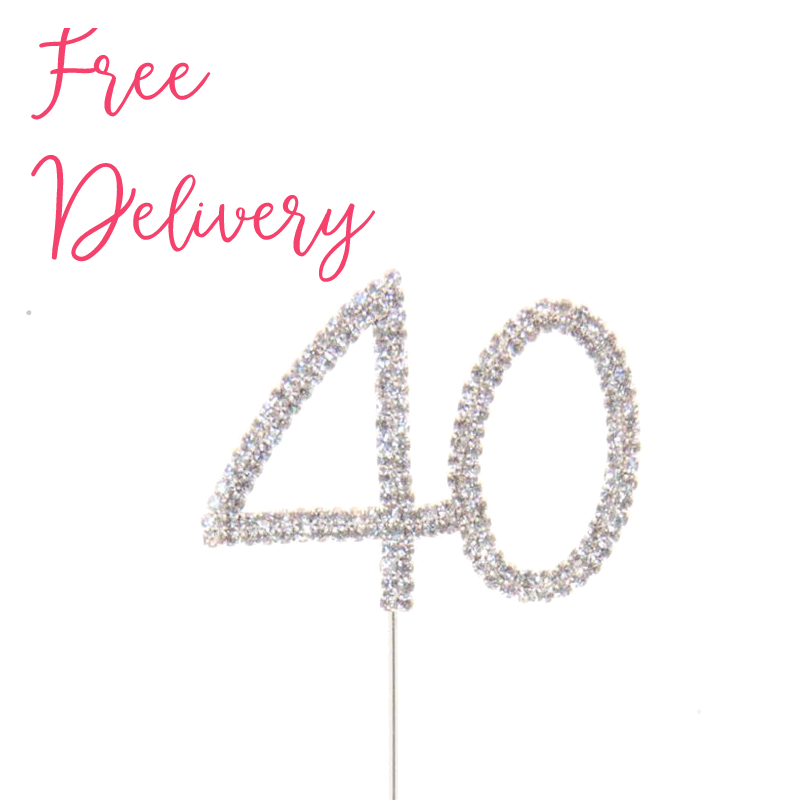 40th Birthday Anniversary Diamante Cake Topper Decoration Pick