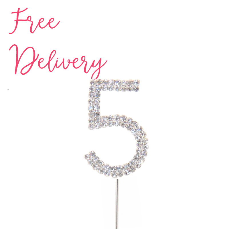5th Birthday Diamante Cake Topper Decoration Pick