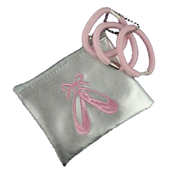 Ballerina Ballet Shoe Silver Purse and Hair Accessories