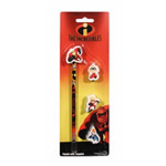 Disney Pixar The Incredibles pencil with 4 rubber toppers