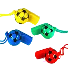 Football shaped whistle for boys party bags