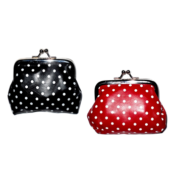 Red & Black Spotted Clasp Purse