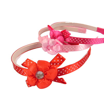 Spotty Aliceband with Jewelled Flower Trim