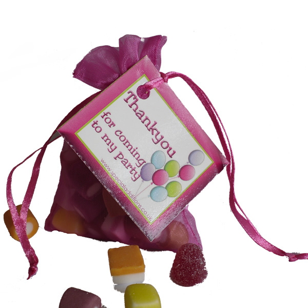 Sweet filled organza bags for birthday gifts